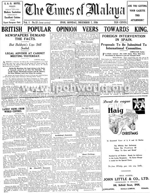 Times of Malaya 1936